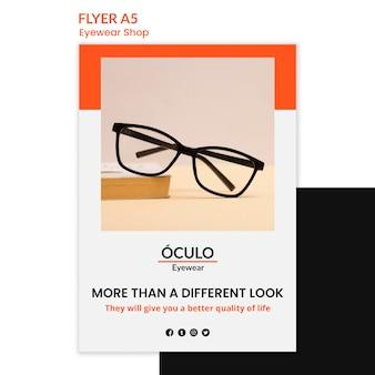 Modello di volantino di concetto di negozio di occhiali