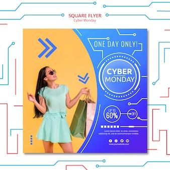 Modello di volantino di lunedì di cyber con foto