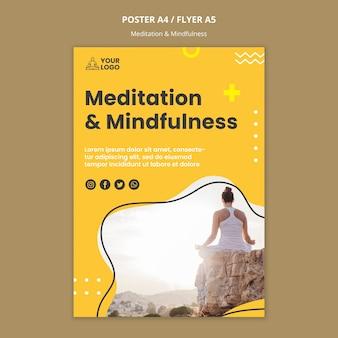 Modello di volantino di meditazione e consapevolezza