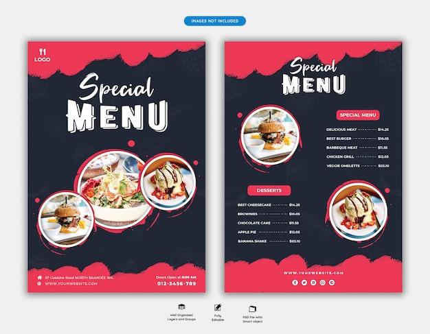 Modello di volantino di menu e ristorante di cibo