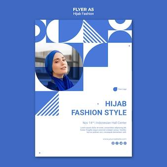 Modello di volantino di moda hijab