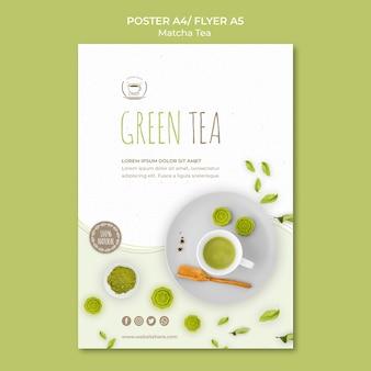 Modello di volantino di tè verde
