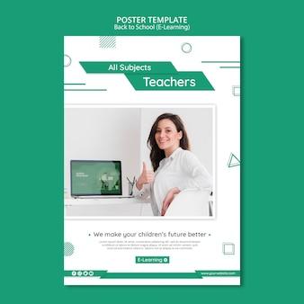 Modello di volantino e-learning con foto