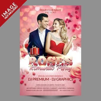 Modello di volantino festa romantica rose