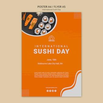 Modello di volantino giorno di sushi internazionale