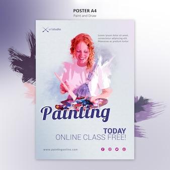 Modello di volantino lezioni di pittura online