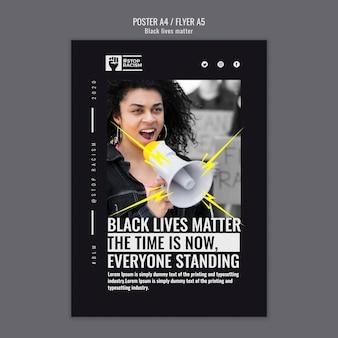 Modello di volantino materia di vite nere