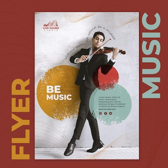 Modello di volantino musicale con foto di un uomo che suona una viola