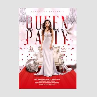 Modello di volantino o poster di lusso regina festa