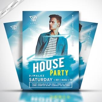 Modello di volantino o poster di musica house dj party