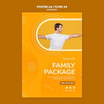 Modello di volantino pacchetto famiglia meditazione