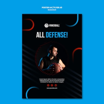 Modello di volantino per giocare a basket