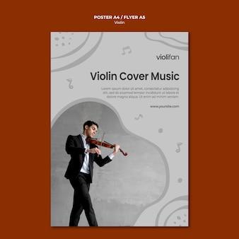 Modello di volantino per gli amanti della musica violino