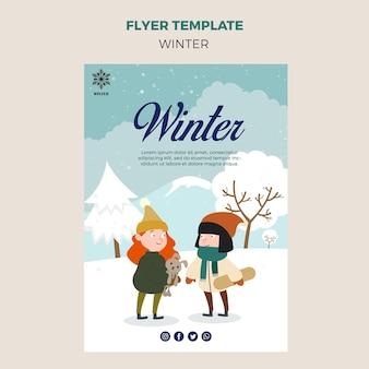 Modello di volantino per l'inverno con i bambini