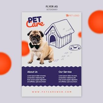 Modello di volantino per la cura degli animali domestici con cane che indossa un farfallino