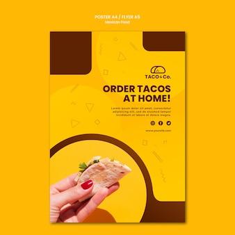 Modello di volantino per ristorante di cibo messicano