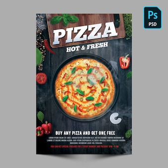 Modello di volantino pizza calda e fresca