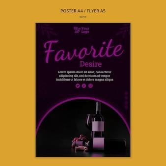 Modello di volantino promozionale del vino con foto