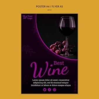 Modello di volantino promozionale di vino a5