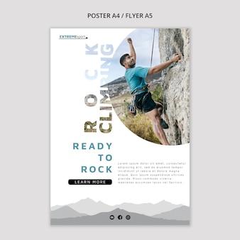 Modello di volantino pronto per l'arrampicata su roccia