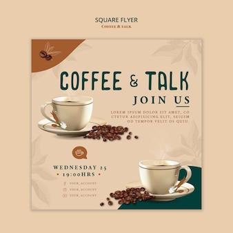 Modello di volantino quadrato caffè e talk