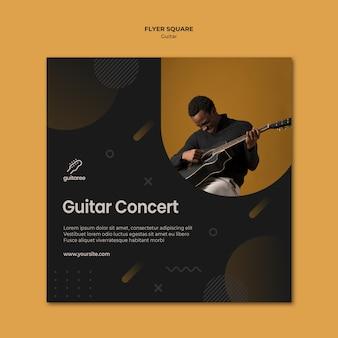 Modello di volantino quadrato chitarrista