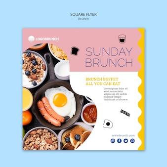 Modello di volantino quadrato cibo brunch della domenica