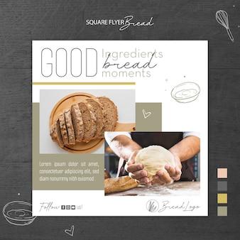 Modello di volantino quadrato concetto di pane