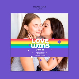 Modello di volantino quadrato concetto gay prinde