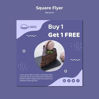 Modello di volantino quadrato concetto macarons
