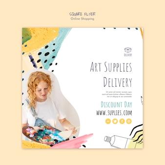 Modello di volantino quadrato consegna online fornitura di arte