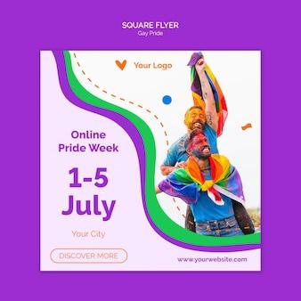 Modello di volantino quadrato di orgoglio gay