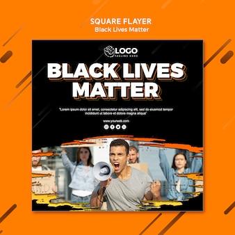 Modello di volantino quadrato di vite nere materia