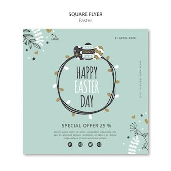 Modello di volantino quadrato felice giorno di pasqua