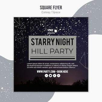 Modello di volantino quadrato festa di notte stellata