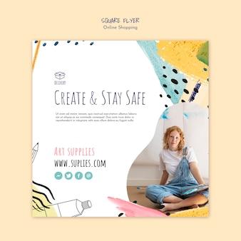 Modello di volantino quadrato online shopping dell'artista