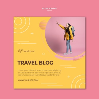 Modello di volantino quadrato per blog itinerante