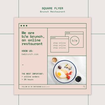 Modello di volantino quadrato ristorante brunch
