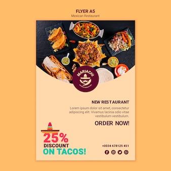 Modello di volantino ristorante messicano piatti tradizionali