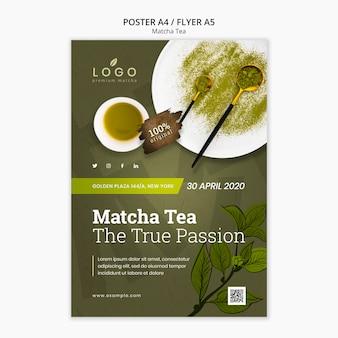 Modello di volantino tè tè matcha