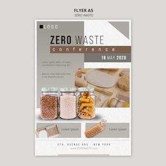 Modello di volantino zero rifiuti con foto