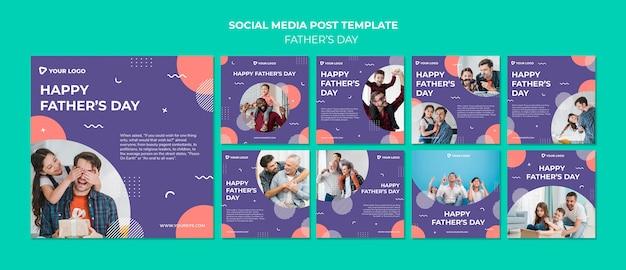 Modello felice della posta di media sociali di concetto di festa del papà