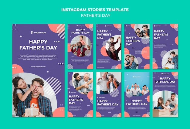 Modello felice di storie del instagram di concetto di festa del papà