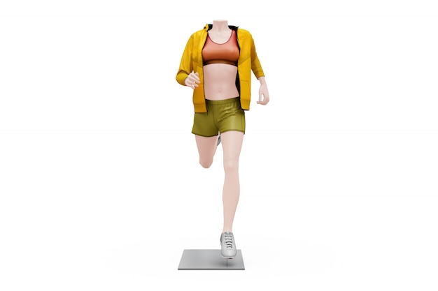 Modello femminile dell'attrezzatura di sport isolato