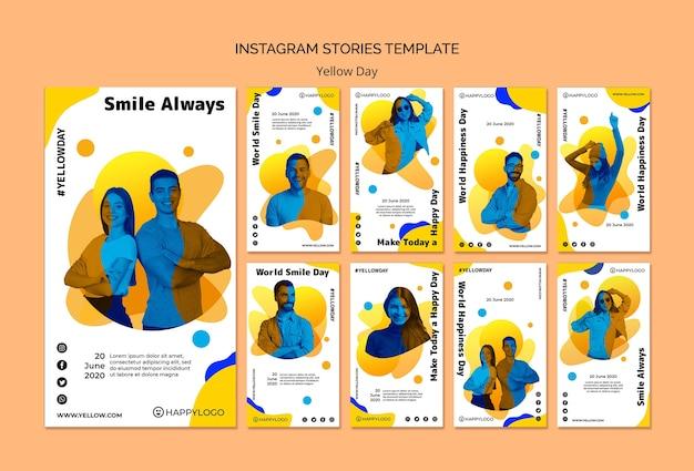 Modello giallo di storie del instagram di giorno felice