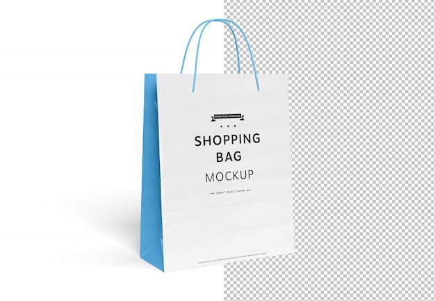 Modello in bianco del sacchetto della spesa tagliato su bianco