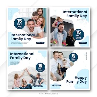 Modello internazionale di giorno della famiglia del pacco dell'insegna della posta di media sociali