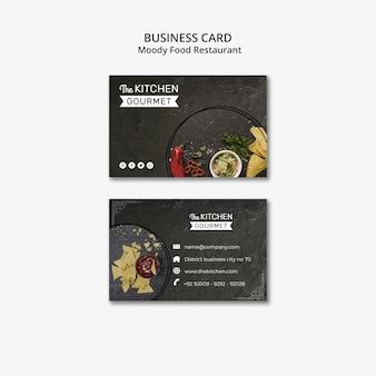 Modello lunatico di concetto del biglietto da visita del ristorante dell'alimento