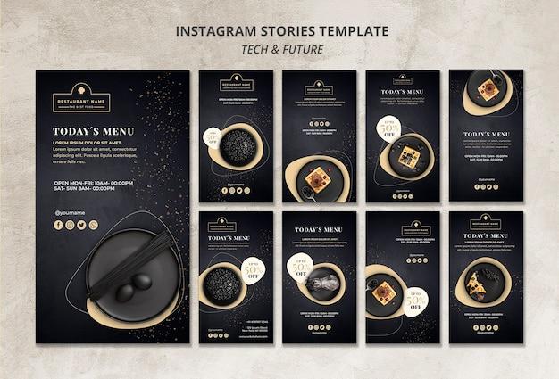 Modello lunatico di concetto del modello di storie del instagram del ristorante lunatico