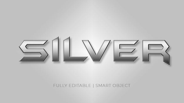 Modello moderno del carattere di effetto del testo d'argento 3d